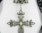Religious Cross ~ Scarf Jewelry ~ Large Clear Rhinestone Cross Pendant ~ Scarf Accessory~ Scarf Charm