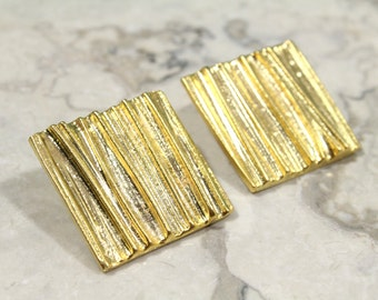 Gold Square Clip On Earrings, 24k Gold Pewter Square Earrings with Organic Texture