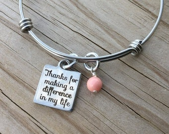 """Inspirational Charm Bracelet- """"Thank you for making a difference in my life"""" laser etched charm with an accent bead in your choice of colors"""