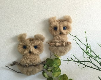 pair of vintage wall hanging woven jute macrame owl / boho wall decor