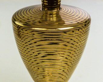 Vtg Modern Caramel Brown Gilded Gold Horizontal Lines Czech Glass Decanter L9X