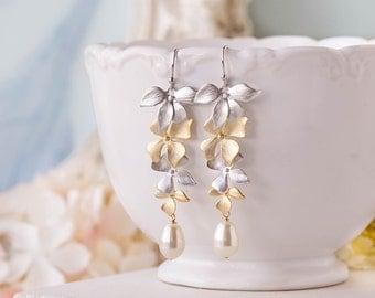 Bridal Earrings in Silver and Gold, Wedding Jewelry, Bridesmaid Earrings, Orchid Flower Teardrop Cream Pearl Long Dangle Earrings