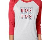 NEW! BOSTON Periodic Table 3/4-Sleeve Raglan Tee by Periodically Inspired (Heather Gray w/ Red Sleeves) ~ Tri-blend Baseball Shirt ~ Unisex