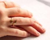 Leaf Twig Ring ... Vintage Midi Brass Adjustable Flower Ring