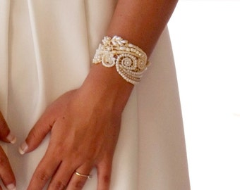 Bridal cuff beaded bracelet for bride pearl bracelet bead embroidered Jewelry pearl bridal bracelet pearl wedding jewelry statement bracelet