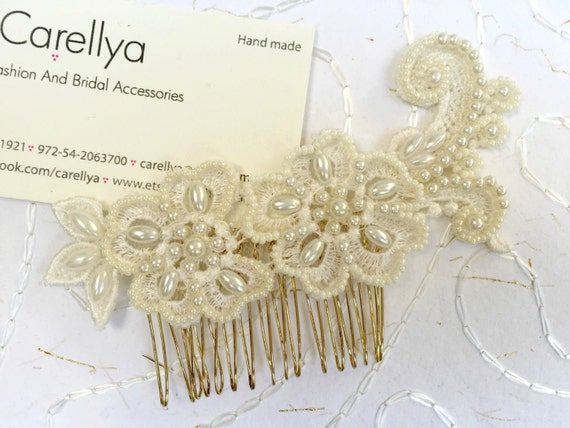 Pearl bridal comb, Beaded Lace headpiece bridal lace flower hair comb vintage wedding pearl Hair comb ivory bead embroidered lace hair clip