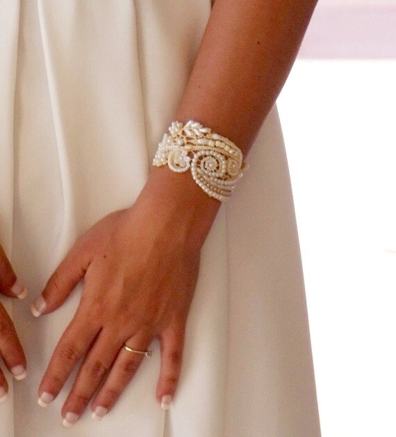 Bridal cuff beaded bracelet for bride pearl bracelet bead embroidered Jewelry pearl bridal bracelet pearl wedding jewelry statement bracelet