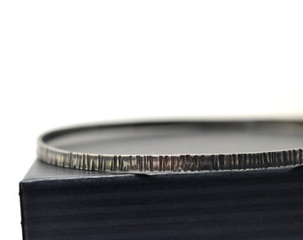 Oxidized Silver Birch Bark Bangle, Tree Bark Jewelry, Hammered Sterling Stacking Bangle, Skinny Bracelet