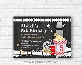 Movie Party Invitation, Movie Night Birthday Invitation, chalkboard Movie party invitation any age 4th 5th 6th 7th 8th 9th 10th - card 436