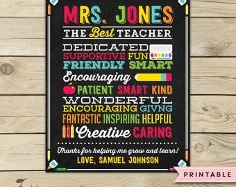Teacher Appreciation Gift Printable - Teacher Chalkboard Sign - Best Teacher - Personalized Teacher Gift - End of the Year Teacher Gifts