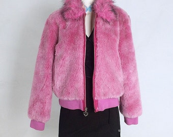 90's Baby Pink with Heart Zipper Pull Cropped Faux Fur Coat // M - L