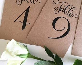 Wedding Table Numbers Letterpress Table Numbers