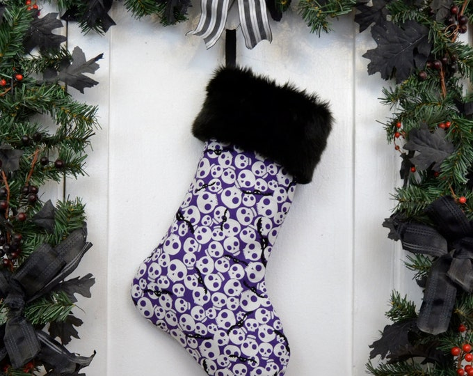 Spooky Cute Skulls & Bats Purple Christmas Stocking