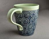 Curly Coffee Mug Ready To Ship Denim Blue Curly Sliptrailed Mug