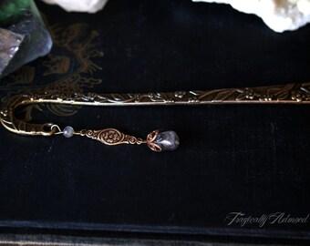 Antique Brass Labradorite Floral Bookmark Fae Story