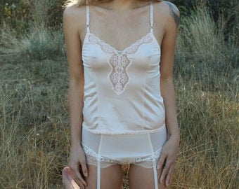 FONTEYN Vintage 70's CamisoleTank Top White Lace Lingerie Intimates Ashley Tayor Size Medium