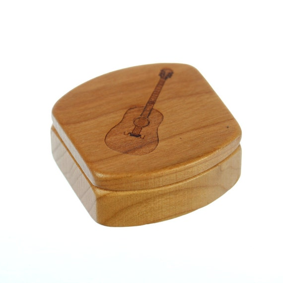 "Guitar Wooden Pick Box, Solid Cherry, Mini Box, MS20, Acoustic Guitar, 1-3/4""L x 1-7/8""W x 7/8""D, Masterpiece Laser, Paul Szewc"