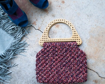 1970s . woven macrame  handbag with plastic handles