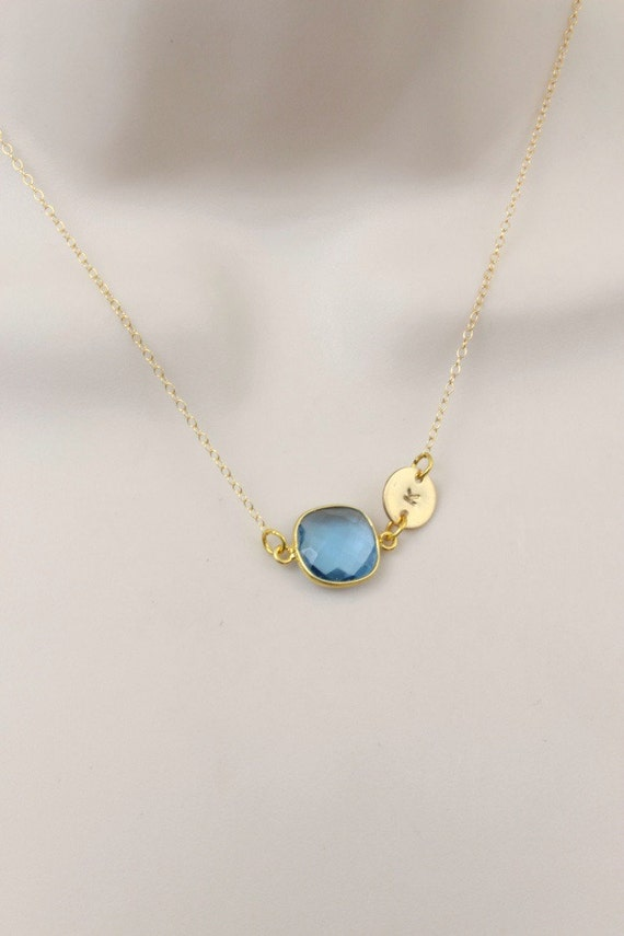blue topaz necklace initial necklace dainty necklace