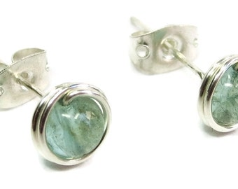 Green Apatite & Sterling Silver Wire-Wrapped Stud Post Earrings