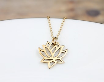 Gold Lotus Flower Necklace - Yoga Necklace - Lotus Flower Jewelry