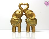 Indian Elephant Wedding Cake Toppers - Gold with Swarovski Crystals