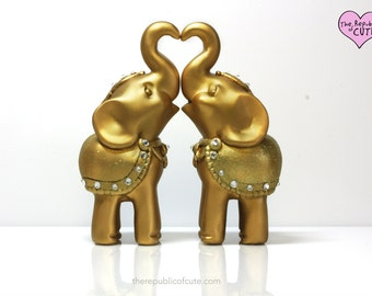 Custom Decorated Gold Elephant Wedding Cake Toppers with Swarovski Crystal Accents