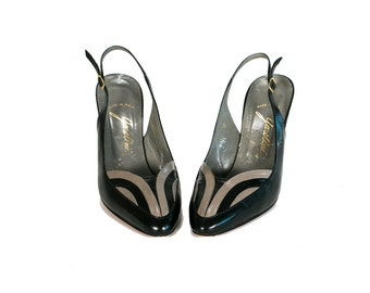 Vintage 60's Black and Grey Leather Sling Back High Heels Made in Italy Women's Size 7 1/2 US