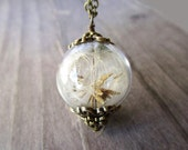 Dandelion Seed Filled Wishing Orb Necklace, Small Orb In Bronze, Bridesmaids Gifts, Terrarium Jewelry