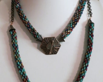 Arizona Colors Twin Set Necklaces with clasp and cones designed by Kim Fox