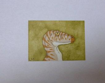 SALE ACEO Velociraptor Original Promarker Drawing Art Card Dinosaur Raptor Art