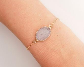 White Druzy Bracelet - OOAK Jewelry
