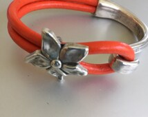 Silver Flower and Silver Half Cuff Leather Bracelet