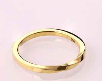 Mobius Ring - 14k Gold Ring , Wedding Ring , Gold Wedding Ring , Wedding Band, Twisted wedding band, mobius band, thin band