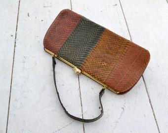 1950s Multi-Color Snakeskin Purse