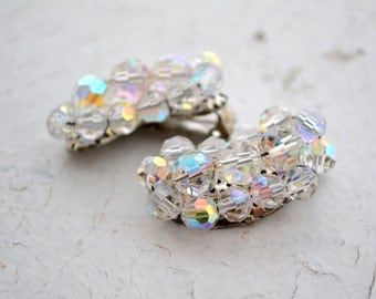 1960s Iridescent Crystal Bead Cluster Clip Earrings
