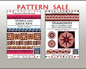 SALE / TWO PATTERNS /  Spirals and Greek Keys, Diamond Kaleidosopes Quilts and Borders