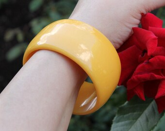 Dramatic Yellow Resin Bangle, Extra Wide