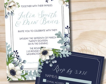 Rustic Anemone Dusty Miller Greenery Wedding Invitation and Response Card Invitation Suite