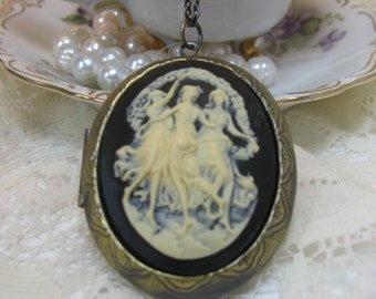 Three Muses Ivory on Black Cameo Locket Pendant Necklace in Antique Gold