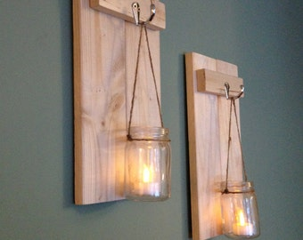 Mason Jar Sconce, Rustic Wall Decor, Wooden Candle Holder, Rustic Sconce, Wooden Wall Sconce, Wall Sconce, Mason Jar Candle Holder, Set of 2
