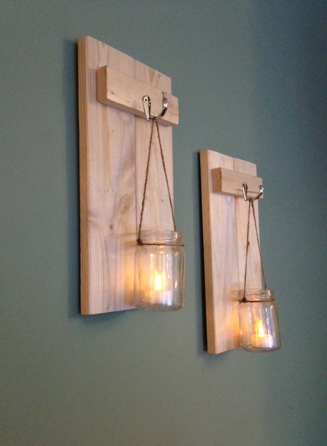 Wooden Wall Sconces For Candles : Mason Jar Sconce Rustic Wall Decor Wooden Candle Holder