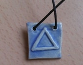 "Blue ceramic pendant - alchemical symbol  ""fire"""