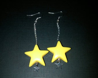 Yellow Chains Stars Earrings