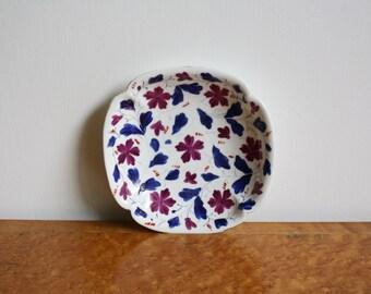 Antique Handpainted Purple Floral Scalloped Porcelain Bowl Dish