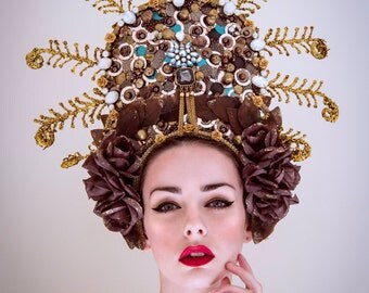 SALE Bronze, Brown & Gold 'Annalisa' Halo Effect Rose Beaded Couture Headdress