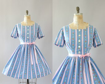 Vintage 50s Dress/ 1950s Cotton Dress/ Light Blue & Pink Rose Print and Polka Dot Cotton Dress L/XL