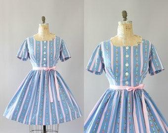 Vintage 50s Dress/ 1950s Cotton Dress/ Light Blue & Pink Rose Print and Polka Dot Cotton Dress L/XL