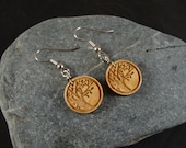 Wooden Dangle Earrings - Small Round - Tree Branch engraved in Maple Wood - Great gift for a birthday or anniversary