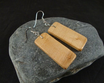 Wooden Dangle Earrings - Michigan Birds Eye Maple Wood - Natural and Eco Friendly Jewelry- Rectangular